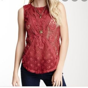 Free people  not so sweet tank lace  size small